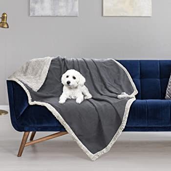 Pawsse Waterproof Pet Blanket,Pee Urine Proof Dog Blanket for Couch Sofa Bed,Soft Reversible Furniture Protector Cover,Liquid Resistance Blanket for Small Medium Large Dogs Cats