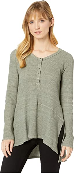 Space-Dyed Thermal V-Neck Easy Fit Henley