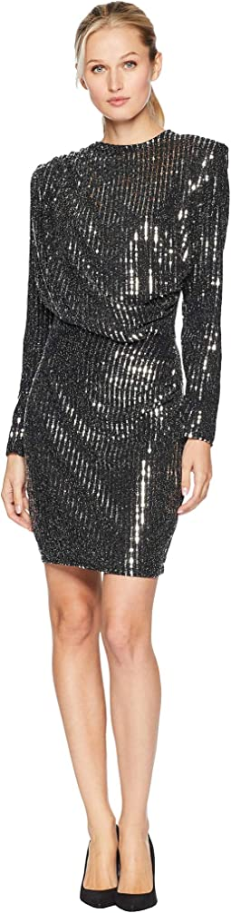 Long Sleeve Drape Front Sequin Dress