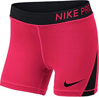 Nike Pro Girls' 4'' Shorts (Racer Pink/Black/Black, Large)