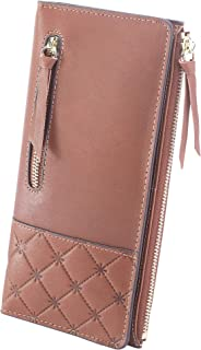 AINIMOER Women's RFID Blocking Large Capacity Luxury Genuine Leather Clutch Wallet Card Holder Organizer Ladies Purse(Vintage Coffee)