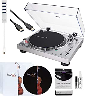Audio-Technica AT-LP120XUSB USB Direct-Drive Turntable (Silver) Bundle with 10-FT USB Extension Cable, Blucoil Type-C Hub, 2-in-1 Vinyl Cleaning Kit, Turntable Slipmat, and 2X LP Inner Sleeves