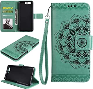 KABRO P10 Case, Embossed Mandala Flower PU Leather Flip Wallet Cover Case for Huawei P10 with Kickstand and Card Holder, Green
