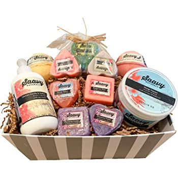 Spa Gift Baskets for Women | Gluten-Free Vegan Birthday Gifts for Women - 18 Piece Set Includes Organic Soap, Moisturizing Cream, Body Scrub & Bath Bombs Scented with Essential Oils