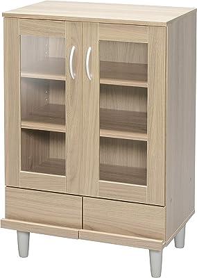 Marque Amazon - Movian 531507 Vaisselier/Buffet 2 tiroirs et 3 étagères avec portes vitrées en bois MDF, Engineered Wood, Chêne Clair, KPB-9360
