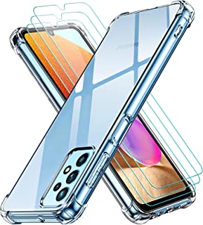 ivoler Fodral till Samsung Galaxy A32 4G med 3 stycken pansarglas-skyddsfolie, transparent mjuk TPU silikon mobiltelefonfo...