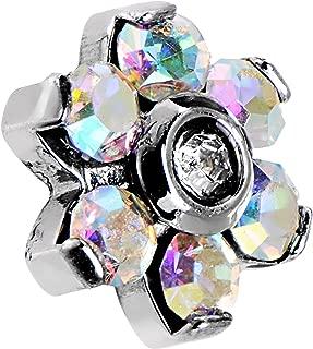 Stainless Steel 5mm Aurora Accent Flower Dermal Anchor Top 14 Gauge