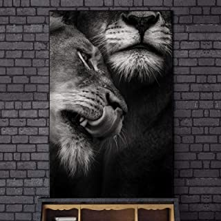 Yooyu African Wild Lover Lions Canvas Paintings on The Wall Art Posters and Prints Black and White Animals Art Pictures De...