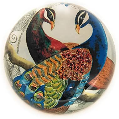 Value Arts Pair of Peacocks Glass Dome Paperweight, 3 Inches Diameter