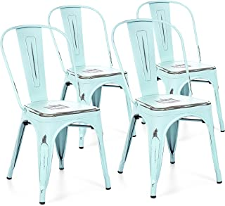 Best Choice Products Metal Industrial Distressed Bistro Chairs for Home, Dining Room, Café, Restaurant Set of 4, Blue