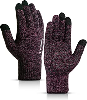Winter Gloves for Men and Women - Knit Touch Screen Anti-Slip Silicone Gel - Elastic Cuff - Thermal Soft Wool Lining - Stretchy Material