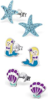 925 Sterling Silver Set of 3 Pairs Blue Crystal Starfish, Mermaid, Purple Seashell Stud Earrings for Girls and Womens (Nickel Free) 20509