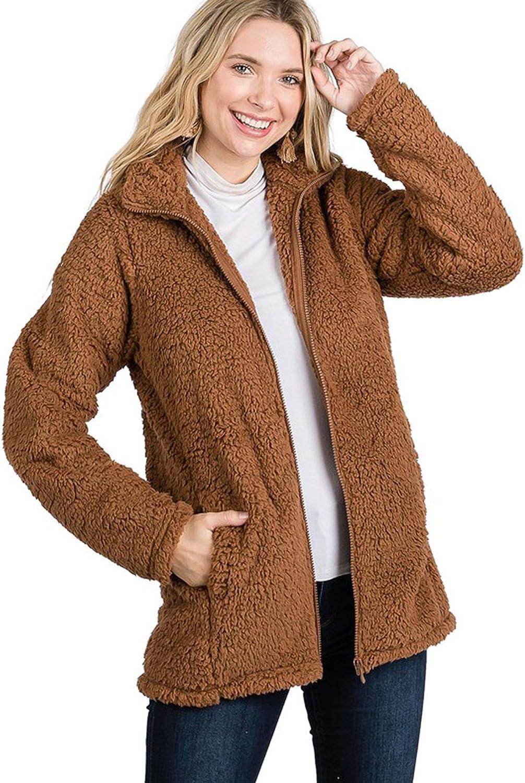 Revol Women's Warm Sherpa Long Sleeve Zip Sweatshirt Fleece Pullover Outwear Coat with Pockets