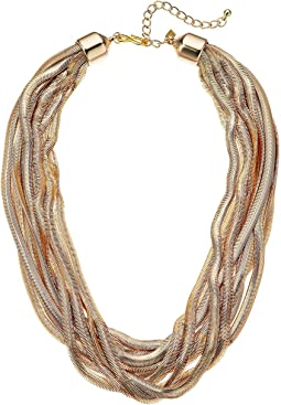 Kenneth Jay Lane 10 Row Gold Snake Chain Necklace