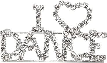 I Love Dance Sparkling Crystal Rhinestone Brooch Pin