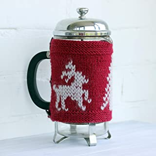 Knit French Press Cozy Red Holiday Table Decor Deer Cafetiere Cosy Cover Tea Pot Cozy Home Decor Housewarming Knitting Accessories