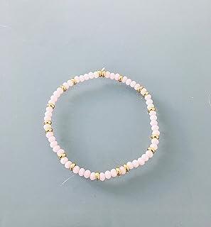 Perline braccialetto da donna rosa e oro Heishi, braccialetto d'oro, braccialetto con perline, gioielli regalo, donna gioi...