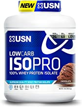 USN Low Carb ISO Pro 100 Percent Whey Protein Isolate, 4 Pounds, Chocolate