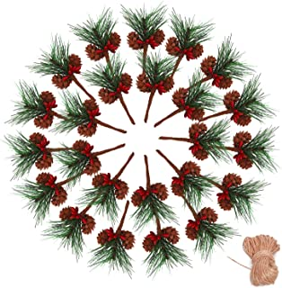 Geefuun 24Pieces Christmas Artificial Pine Needle/Pick Decorations 1 Pack Jute Twine Rope - Xmas Party Gift Wrapping Decor...
