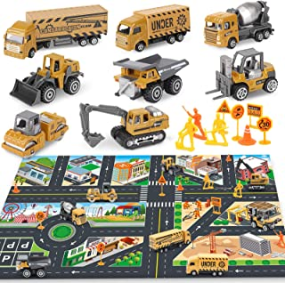 Dreamon Construction Cake Toppers Matchbox Sandbox Truck Cars Toys Set for Boys and Girls, 8 Mini Engineer Diecast Cars, R...