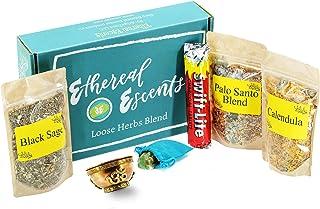 Sponsored Ad - Smudge Kit with Incense Burner for Spiritual Cleansing: Loose Herbs - Palo Santo, Black Sage, Calendula; Me...