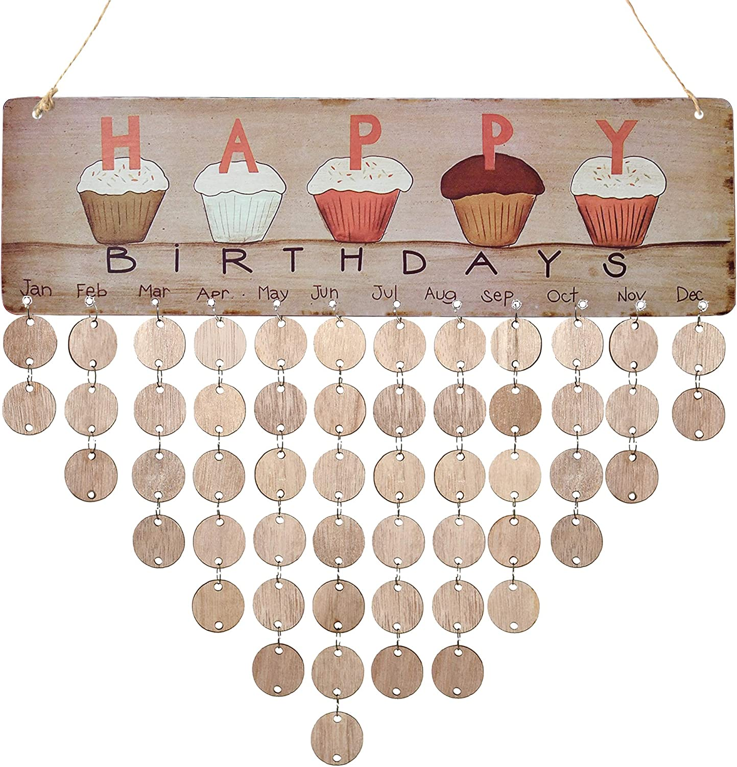 Cupcake Birthday Calendar Max 53% OFF Wall Excellent Pla Board Hanging Wooden
