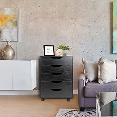 ZENY 5 Drawers Office Storage Cabinet with Casters Under Desk Cabinet Storage Desk Drawers, Home Furniture Drawer Cabinet Org