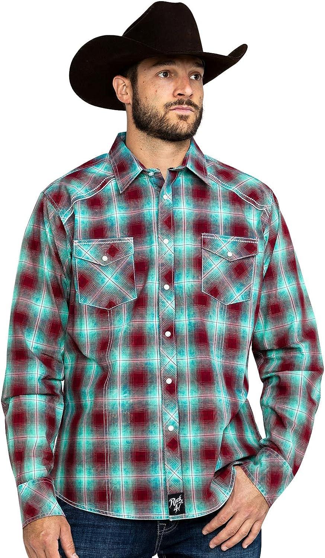 Wrangler Men's Rock 47 by Med Plaid Long Sleeve Western Shirt