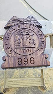 Personalized Georgia State Patrol Police Badge V Carved Wooden Sign.