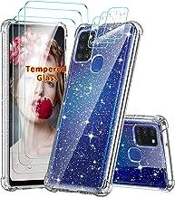 LeYi Coque pour Samsung Galaxy A21s avec 3 Verres Trempés Protection écran et 3 Protection Camera, Transparent Paillette Glitter Renforcée Anti-Chute Antichoc Gel TPU Silicone Souple Etui Housse