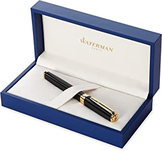 Waterman Exception Fountain Pen, Slim Black with 23k Gold Clip, Fine Nib with Blue Ink Cartridge, Gift Box