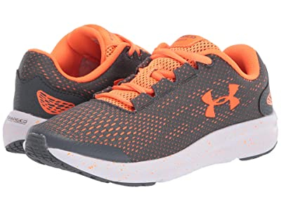 Under Armour Kids Charged Pursuit 2 (Big Kid) (Pitch Gray/White/Orange Spark) Boys Shoes