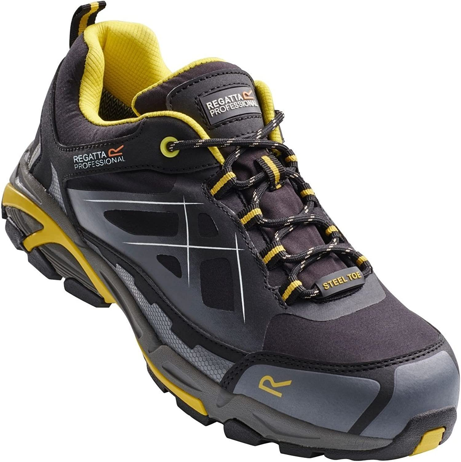 Regatta Professional Mens Prime Softshell S3 Wide Fitting Safety Trainers Black Yellow 41