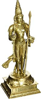 Lord Murugan Statue Subramanya Murthi Brass Statue Swami Kartikeya (15.75