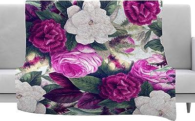 Kess InHouse Rosie Brown Garden Shadows Green Black Throw 80 x 60 Fleece Blanket