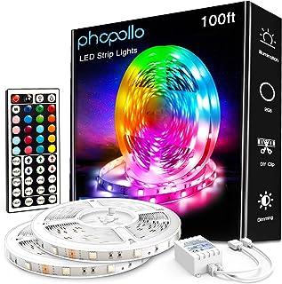 PHOPOLLO 100ft Led Strip Lights, 5050 Led Lights for Bedroom, Kitchen, Home Decoration