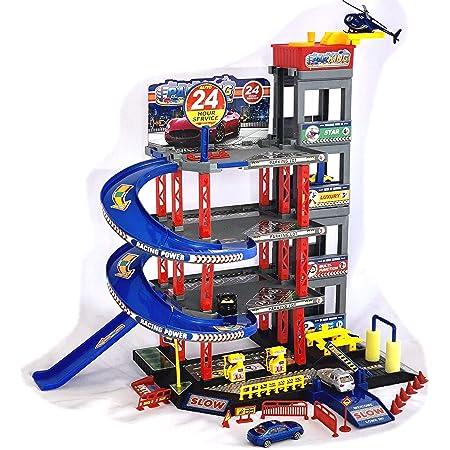 Garage de parking pour enfant avec garage 4 voitures et hélicoptère de jeu avec stations-service, chaise, chaise de chauffage, atelier