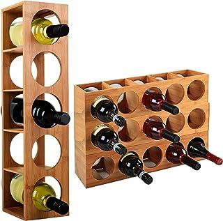 WOLTU RG9260br-a Support de Bouteille de vin Support de vin en Bambou pour 5 Bouteilles