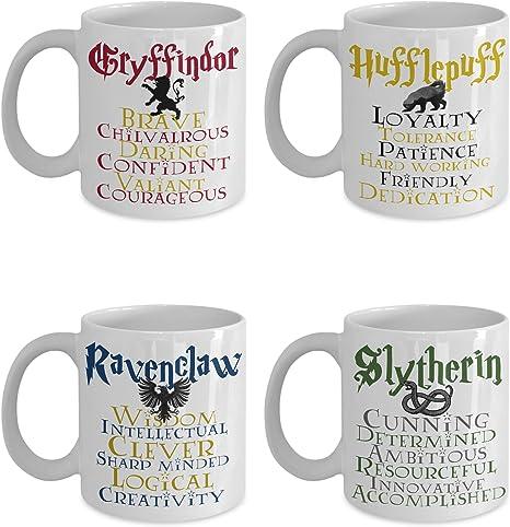 Amazon Com Harry Potter Slytherin Hufflepuff Griffindor Ravenclaw House Merchandise Gift Ceramic Coffee Mug Set Of 4 Kitchen Dining