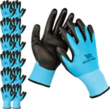 ACKTRA Ultra-Thin Polyurethane (PU) Coated Nylon Safety WORK GLOVES 12 Pairs, Knit Wrist..