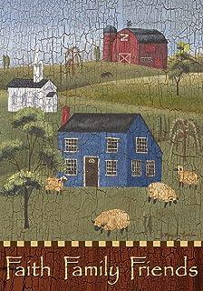Faith Family Friends Primitive Garden Flag Everyday Salt Box Houses 12.5 x 18