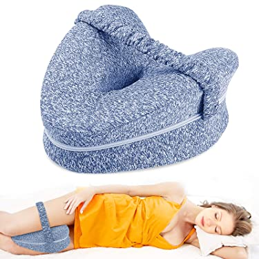 Aokeou Knee Pillow, Memory Foam Leg Positioner Pillow for Side Sleeping, Leg Pillow with Strap for Leg Pain, Back Pain, Sciatica, Pregnancy, Side Sleepers (Blue)