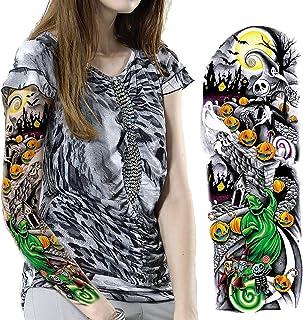 Leoars Nightmare Before Christmas Tattoos Sleeve, 3-Sheet Full Arm Sleeve Temporary Tattoo Stickers, Fake Sleeve Tattoos f...