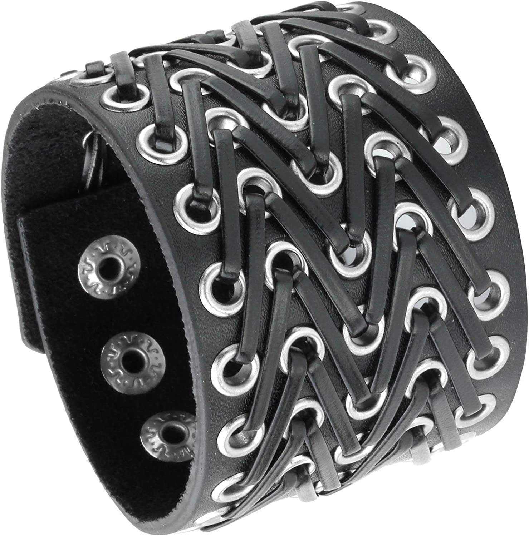 Milakoo Spike New arrival Punk Rock Black OFFicial shop Bracelet Cuff Leather Ajustable