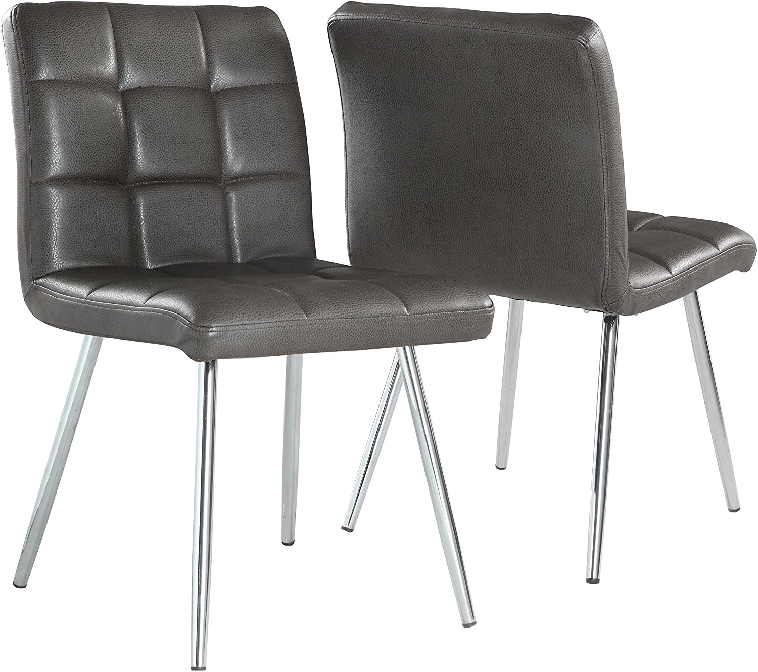 Monarch Specialties Grey Leather-Look Chrome Metal 2-Piece Dining Chair, 32-Inch