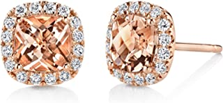 New NYC Sterling Women Rose Gold Plated Cubic Zirconia Marquis Simulated Morganite Halo Stud Earring