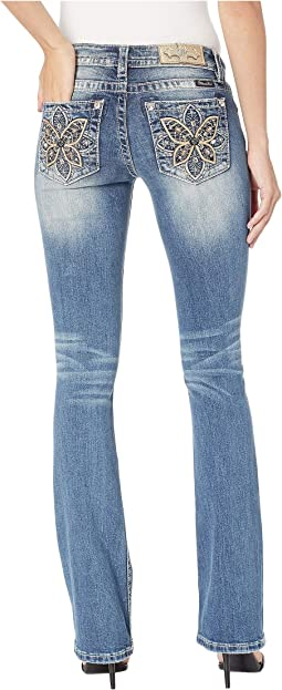 Butterfly Embellished Bootcut Jeans in Medium Blue