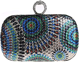 Christal Town Rhinestone Stud One Ring Knuckle Duster Cocktail Clutch Bag