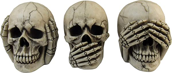 DWK 4 5 Inch Three Wise Skulls See Hear Speak No Evil Realistic Mini Skull Figurines Macabre Halloween Gothic Home Decor Set Of 3