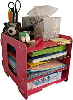 C&K Solutions Four Tier Desk Organizer Paper Storage, Office Organization Sorter, Watermelon Red